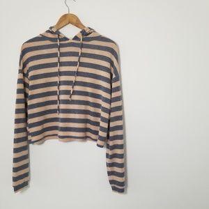 Chloe & Katie Striped Hoodie Sweater Pink/Blue S